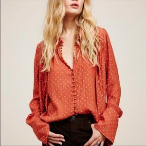 Free People Modern Muse Dot Bow Neck Blouse Top